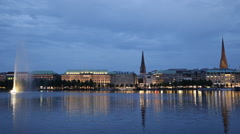 Panorama Establishing Shot Hamburg Skyline Dusk Light Evening Night Alster Lake Stock Footage