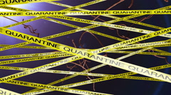 Microscopic Ebola Virus Behind Quarantine Signs 3 Stock Footage