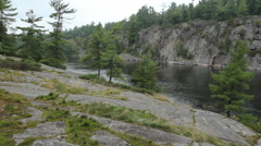 Natural shore of Canadian river. French river, Ontario. Stock Footage