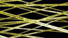 Quarantine Ribbon Signs 1 Matte Stock Footage