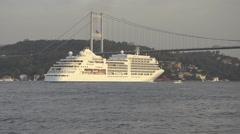 Bosporus Bosphorus Luxury Cruise, liner, passenger ship crossing, voyage Stock Footage