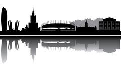 warsaw reflection - stock illustration
