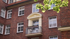 Hamburg German Architecture Establishing Shot Residential Building Flat Balcony Stock Footage