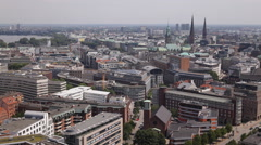 Spectacular Panoramic Shot Aerial View German City Hamburg Above Buildings Roofs Stock Footage