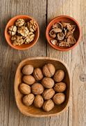 walnuts, core and nutshell - stock photo