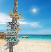 Signpost by the sea Stock Photos