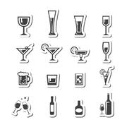 drink alcohol beverage icons set - stock illustration