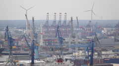 Freight Cargo Ships Container Terminal Crane Eurogate Hamburg Import Export Dock Stock Footage