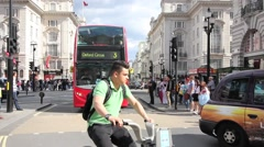 Oxford Circus London buses and taxis Stock Footage