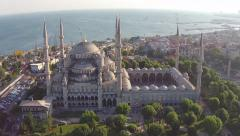 Blue Mosque Aerial Shot Stock Footage