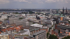Establishing Shot Panoramic Pan Left Aerial View Hamburg Skyline Above City Day Stock Footage