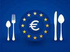 euro symbol on a plate with cutlery - stock illustration