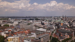 Spectacular Establishing Shot Hamburg Skyline Aerial View Cityscape Sunny Day Stock Footage