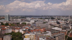 Hamburg Skyline Panoramic Aerial View Pan Right Sightseeing Famous Landmarks Day Stock Footage