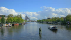 Amstel river in Amsterdam, Holland, 4k UHD Stock Footage