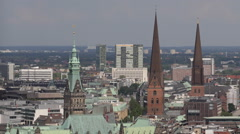 Hamburg Cityscape Aerial View Town Hall Building Peter Jacobi Church Homes Roofs - stock footage