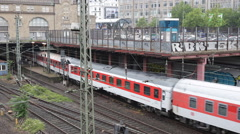 Arrival Intercity Train Entrance Central Station Hamburg German Transportation Stock Footage