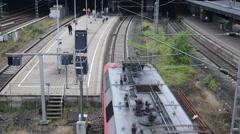 Regional Train Arriving Station Train Arrival People Commuters Commuting Hamburg Stock Footage