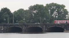 Establishing Shot Hamburg Skyline Train Passing Bridge Traffic Jam Rush Hour Day Stock Footage