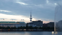 Spectacular Dusk Light Hamburg Skyline Alster Lake Large Water Fountain Landmark Stock Footage
