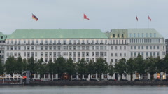 Fairmont Hotel Vier Jahreszeiten Hamburg Promenade Area Alster Lake People Walk Stock Footage