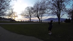 Golden hour at Kitsilano beach Stock Footage