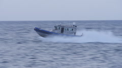 Police fast patrol boat Stock Footage