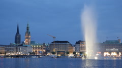 Establishing Shot Sightseeing Hamburg Skyline Landmark Promenade Night Dusk Lit Stock Footage