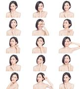 chinese woman facial expressions - stock photo