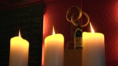 Candles, wine and great atmosphere. Restaurant. Stock Footage