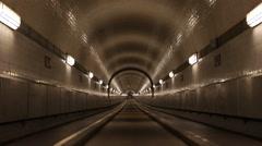 Alter Elbtunnel Hamburg Establishing Shot Elbe Tunnel People Commuters Commute Stock Footage