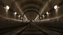 Hamburg City Elbe Tunnel People Walking Crossing Underground Underpass Corridor Stock Footage
