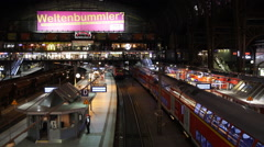 Hamburg Railway Station Regional Train Departing Commuters Commuting Night Ride Stock Footage