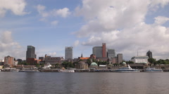 Hamburg Skyline Elbe River Tunnel Harbor Cruise Ships Terminal Tour Sightseeing Stock Footage