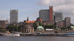 Elbe River Old Tunnel Entrance Hamburg Skyline Office Tower Hafencity Ferry Boat Stock Footage