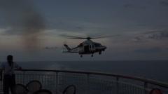 Italy Coast Guard helicopter cruise ship emergency evacuation HD 018 Stock Footage