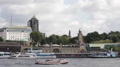 Establishing Shot Hamburg Skyline Harbor Port Ferry Terminal Cruise Ship Passing Stock Footage
