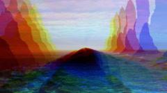 Abstract watercolor ocean rocks scene, reynisdrangar, Iceland Stock Footage