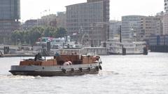 Cargo Ship Passing Elbe River Borkum Hamburg Shipping Boat Freight Transport Day Stock Footage