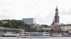 Hamburg Landmark Skyline Establishing Shot Church Cruise Ship Ferry Boat Passing Stock Footage