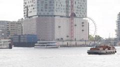 Ferry Boat Passing Cargo Ship Leaves Port Hamburg Skyline Sightseeing Landmarks Stock Footage