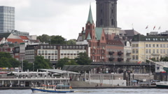 Hamburg Skyline Port Harbor Elbe River Promenade Church Gustavus Adolphus Sweden Stock Footage