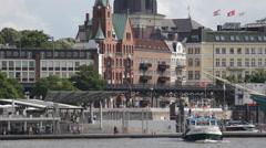Hamburg Passenger Cruise Ship Terminal Traffic Ferry Boat Leaves Harbor Port Day Stock Footage
