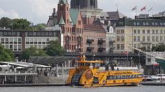 Hamburg Harbor Ferry Boat Passing Elbe River Cruise Ship Departing Port Sunlight Stock Footage