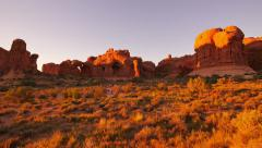 4K Arches 27 Windows Section Sunset Double Arch Utah USA Stock Footage