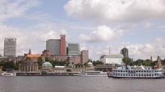 Steamboat Passing Touristic Paddle Steamer Louisiana Star Hamburg Port Boat Ship Stock Footage