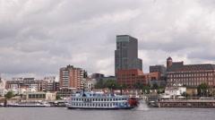Steamboat Departing Paddle Steamer Ship Louisiana Star Hamburg Skyline Landmarks Stock Footage
