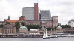 Sailing Boat Small Yacht Passing Front Skyline Hamburg Port Harbor Cruise Ship Stock Footage