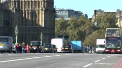 A Big Bus Tours tourist bus crossing Westminster Bridge, London, UK. Stock Footage
