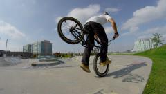 Ultra High Definition 4K - Extreme Sport - BMX nose wheelie Stock Footage